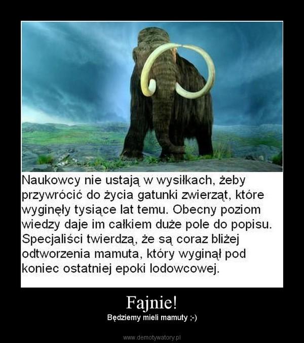 Fajnie! – Będziemy mieli mamuty ;-)