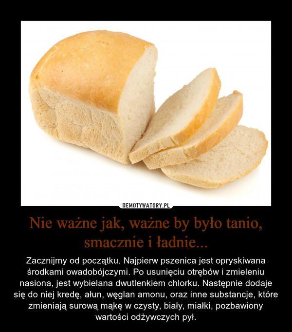 Nie ważne jak, ważne by było tanio, smacznie i ładnie... – Zacznijmy od początku. Najpierw pszenica jest opryskiwana środkami owadobójczymi. Po usunięciu otrębów i zmieleniu nasiona, jest wybielana dwutlenkiem chlorku. Następnie dodaje się do niej kredę, ałun, węglan amonu, oraz inne substancje, które zmieniają surową mąkę w czysty, biały, miałki, pozbawiony wartości odżywczych pył.