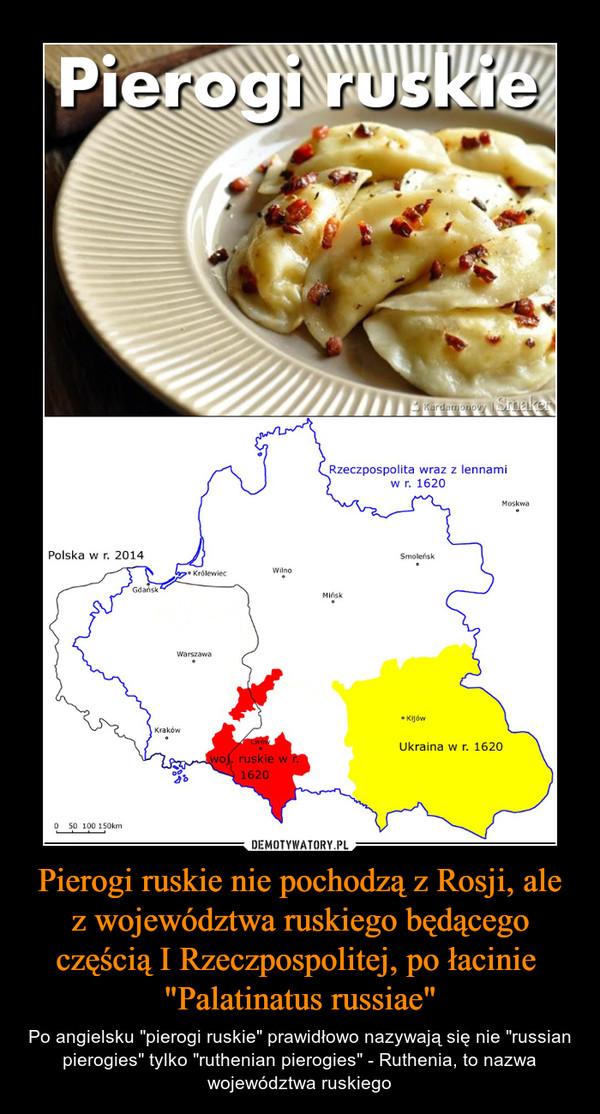 """Pierogi ruskie nie pochodzą z Rosji, ale z województwa ruskiego będącego częścią I Rzeczpospolitej, po łacinie """"Palatinatus russiae"""" – Po angielsku """"pierogi ruskie"""" prawidłowo nazywają się nie """"russian pierogies"""" tylko """"ruthenian pierogies"""" - Ruthenia, to nazwa województwa ruskiego"""