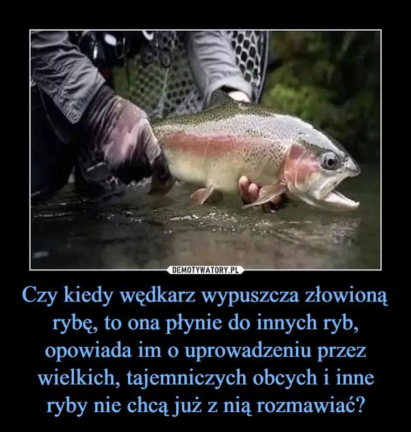 Czy kiedy wędkarz wypuszcza złowioną rybę, to ona płynie do innych ryb, opowiada im o uprowadzeniu przez wielkich, tajemniczych obcych i inne ryby nie chcą już z nią rozmawiać? –