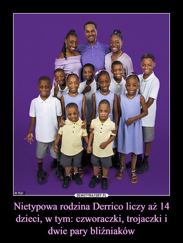 Nietypowa rodzina Derrico liczy aż 14 dzieci, w tym: czworaczki, trojaczki i dwie pary bliźniaków –