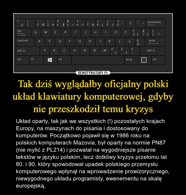 Tak dziś wyglądałby oficjalny polski układ klawiatury komputerowej, gdyby nie przeszkodził temu kryzys – Układ oparty, tak jak we wszystkich (!) pozostałych krajach Europy, na maszynach do pisania i dostosowany do komputerów. Początkowo pojawił się w 1986 roku na polskich komputerach Mazovia, był oparty na normie PN87 (nie mylić z PL214) i pozwalał na wygodniejsze pisanie tekstów w języku polskim, lecz dotkliwy kryzys przełomu lat 80. i 90. który spowodował upadek polskiego przemysłu komputerowego wpłynął na wprowadzenie prowizorycznego, niewygodnego układu programisty, ewenementu na skalę europejską.