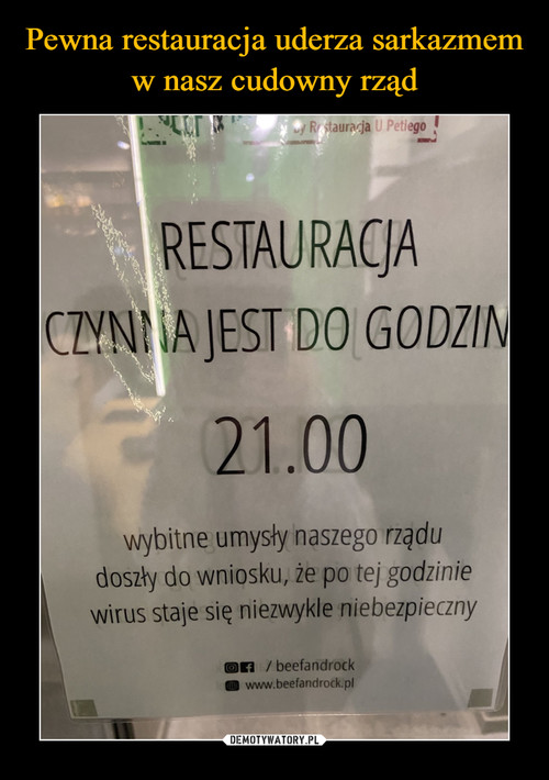 Pewna restauracja uderza sarkazmem w nasz cudowny rząd