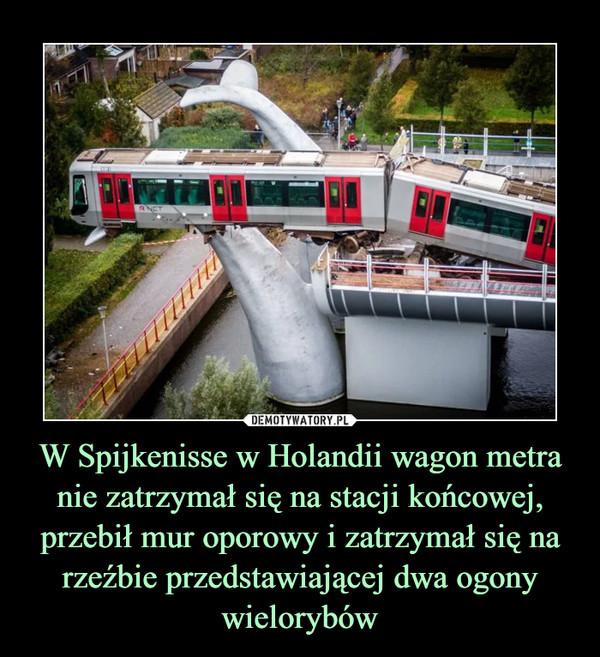 W Spijkenisse w Holandii wagon metra nie zatrzymał się na stacji końcowej, przebił mur oporowy i zatrzymał się na rzeźbie przedstawiającej dwa ogony wielorybów –