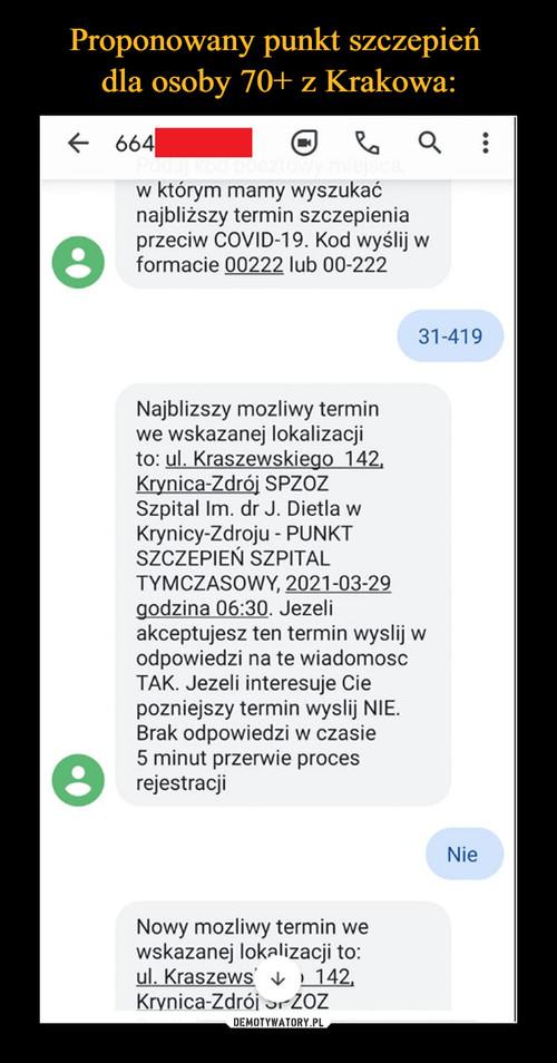 Proponowany punkt szczepień  dla osoby 70+ z Krakowa: