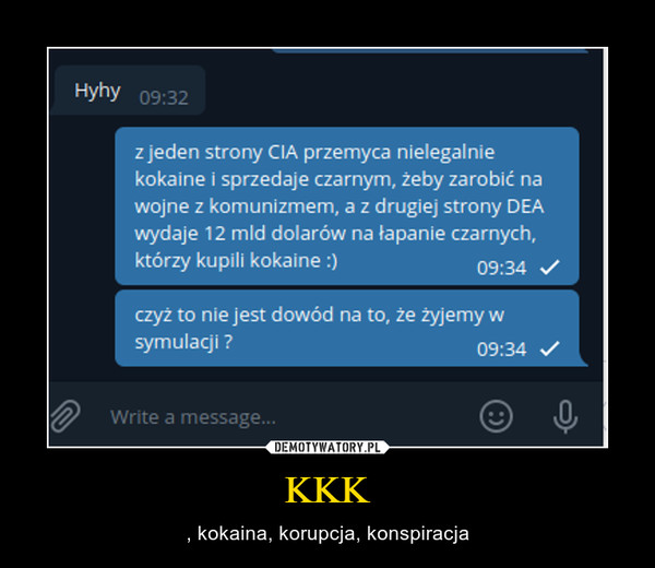 KKK – , kokaina, korupcja, konspiracja