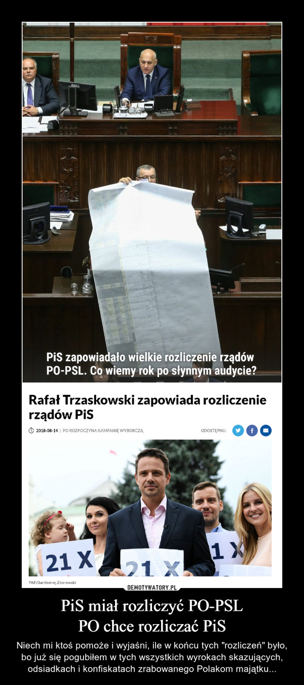 """PiS miał rozliczyć PO-PSLPO chce rozliczać PiS – Niech mi ktoś pomoże i wyjaśni, ile w końcu tych """"rozliczeń"""" było, bo już się pogubiłem w tych wszystkich wyrokach skazujących, odsiadkach i konfiskatach zrabowanego Polakom majątku..."""