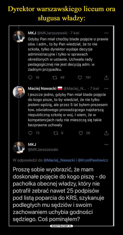 Dyrektor warszawskiego liceum ora sługusa władzy: