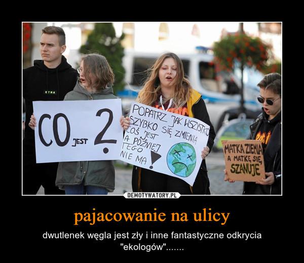 """pajacowanie na ulicy – dwutlenek węgla jest zły i inne fantastyczne odkrycia """"ekologów""""......."""