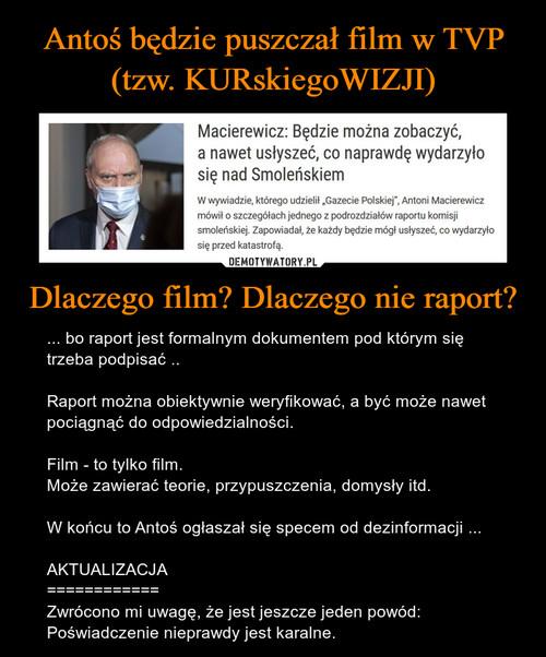 Antoś będzie puszczał film w TVP (tzw. KURskiegoWIZJI) Dlaczego film? Dlaczego nie raport?