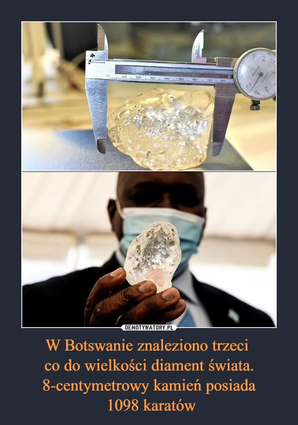 W Botswanie znaleziono trzeci  co do wielkości diament świata. 8-centymetrowy kamień posiada  1098 karatów