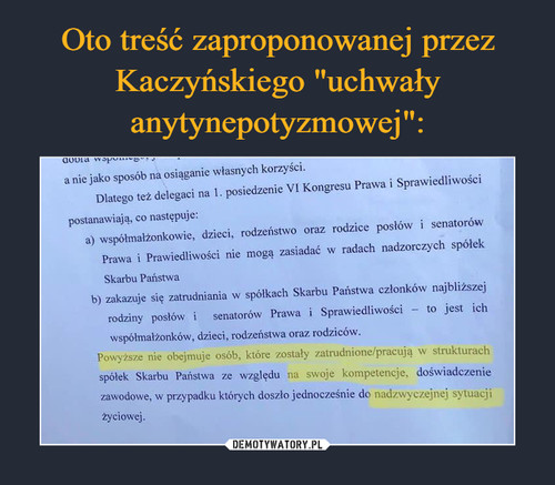"""Oto treść zaproponowanej przez Kaczyńskiego """"uchwały anytynepotyzmowej"""":"""