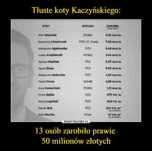 Tłuste koty Kaczyńskiego: 13 osób zarobiło prawie  50 milionów złotych
