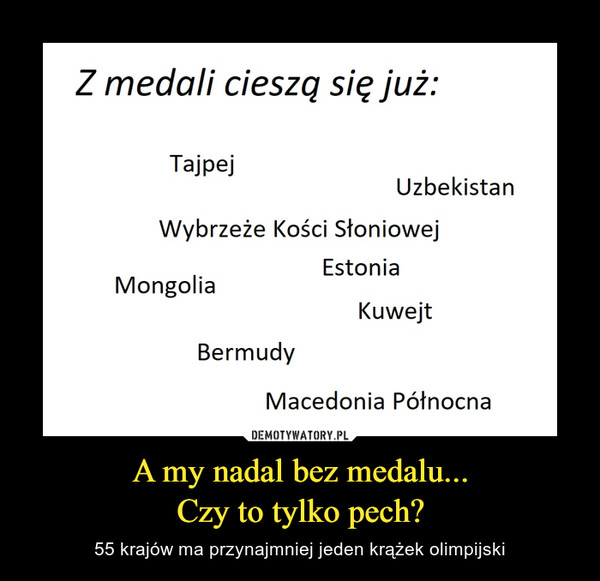 A my nadal bez medalu...Czy to tylko pech? – 55 krajów ma przynajmniej jeden krążek olimpijski