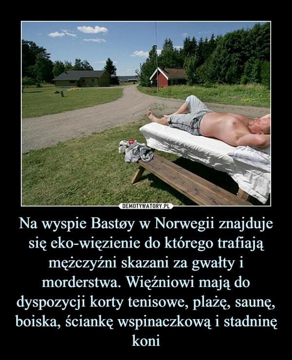 Na wyspie Bastøy w Norwegii znajduje się eko-więzienie do którego trafiają mężczyźni skazani za gwałty i morderstwa. Więźniowi mają do dyspozycji korty tenisowe, plażę, saunę, boiska, ściankę wspinaczkową i stadninę koni –