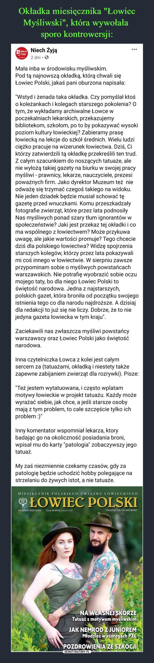 """Okładka miesięcznika """"Łowiec Myśliwski"""", która wywołała  sporo kontrowersji:"""