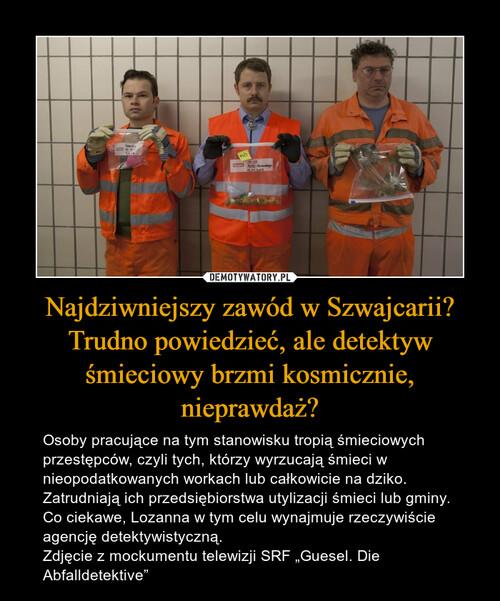 Najdziwniejszy zawód w Szwajcarii? Trudno powiedzieć, ale detektyw śmieciowy brzmi kosmicznie, nieprawdaż?