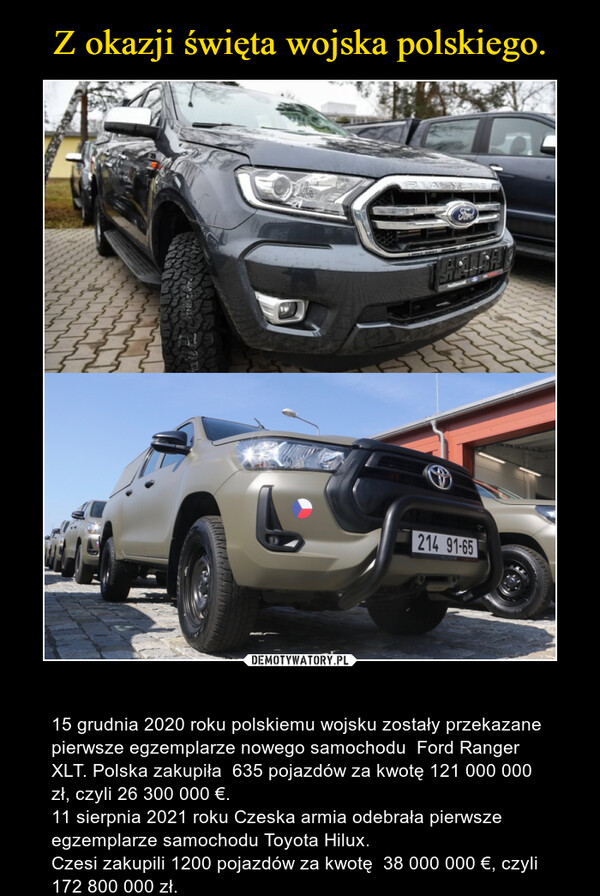 – 15 grudnia 2020 roku polskiemu wojsku zostały przekazane pierwsze egzemplarze nowego samochodu Ford Ranger XLT. Polska zakupiła 635 pojazdów za kwotę 121 000 000 zł, czyli26 300 000 €.11 sierpnia 2021 roku Czeska armia odebrała pierwsze egzemplarze samochoduToyota Hilux.Czesi zakupili 1200 pojazdów za kwotę 38 000 000 €, czyli 172 800 000 zł.