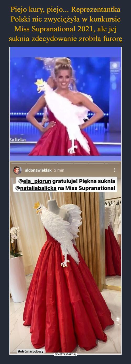 Piejo kury, piejo... Reprezentantka Polski nie zwyciężyła w konkursie Miss Supranational 2021, ale jej suknia zdecydowanie zrobiła furorę