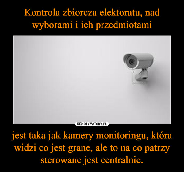 jest taka jak kamery monitoringu, która widzi co jest grane, ale to na co patrzy sterowane jest centralnie. –