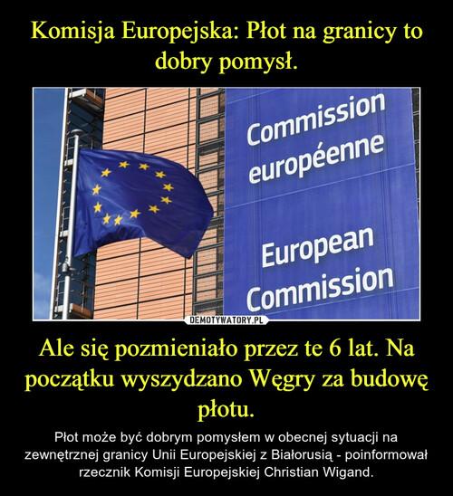 Komisja Europejska: Płot na granicy to dobry pomysł. Ale się pozmieniało przez te 6 lat. Na początku wyszydzano Węgry za budowę płotu.