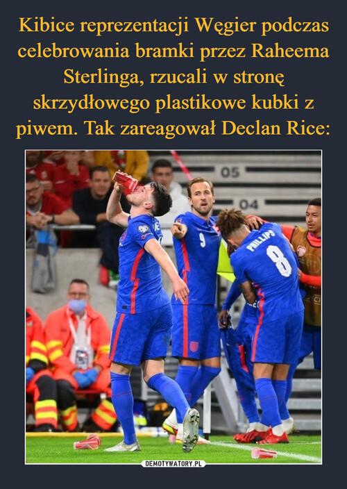 Kibice reprezentacji Węgier podczas celebrowania bramki przez Raheema Sterlinga, rzucali w stronę skrzydłowego plastikowe kubki z piwem. Tak zareagował Declan Rice: