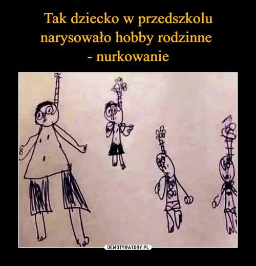 Tak dziecko w przedszkolu narysowało hobby rodzinne  - nurkowanie