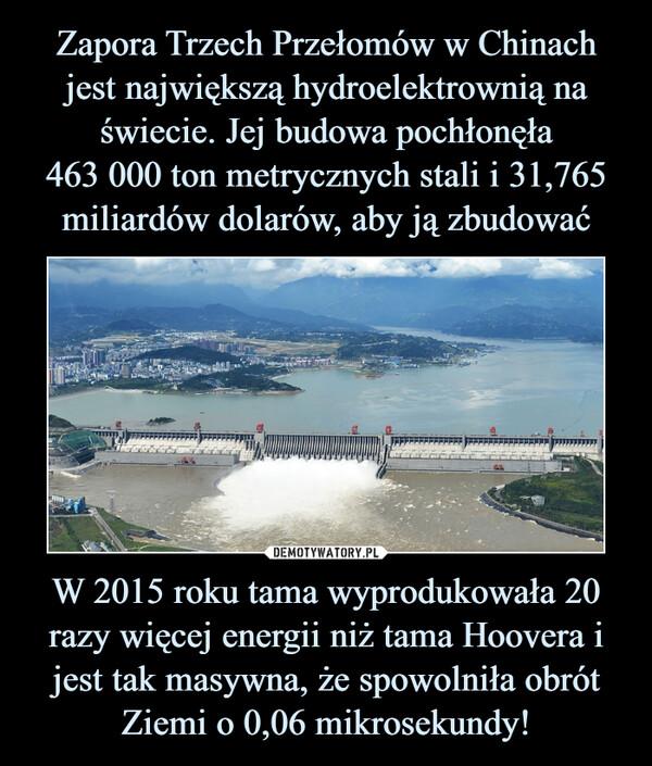 W 2015 roku tama wyprodukowała 20 razy więcej energii niż tama Hoovera i jest tak masywna, że spowolniła obrót Ziemi o 0,06 mikrosekundy! –